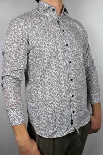 Hemd 1/1 slim soft weiß/braun