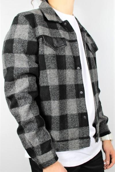 Sweat Jacke flannel grau/sw